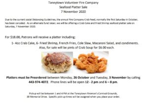 taneytown volunteer fire company seafood platter fundraiser